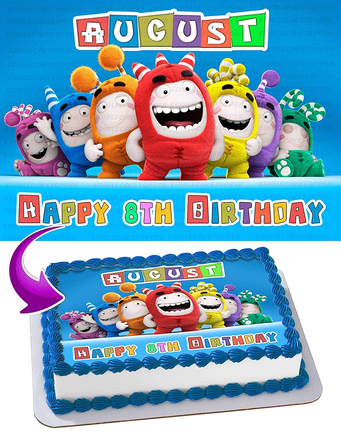 Oddbods Edible Image Cake Topper Personalized Icing Sugar Paper A4 Sheet Edible Frosting Photo Cake 1//4 ~ Best Quality Edible Image for cake