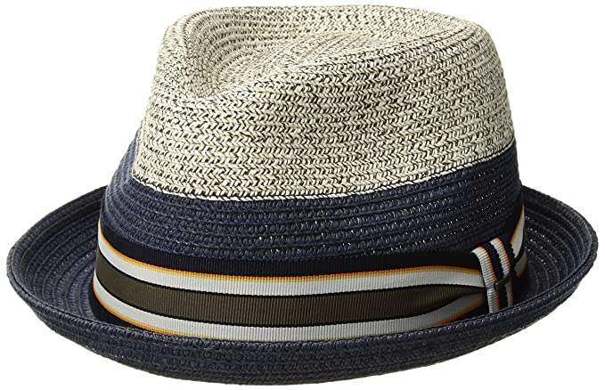 c4d06517a86 Bailey of Hollywood Men s Rokit Braided Fedora Trilby Hat with Stripe Band  Birch Navy S