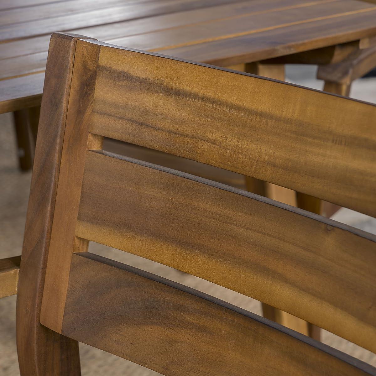 Timor Outdoor 7 Piece Teak Finished Acacia Wood Dining Set