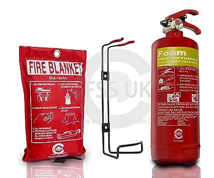 Cápsulas UK PREMIUM 2 litros extintor de espuma con manta ignífuga. Cumple con norma británica