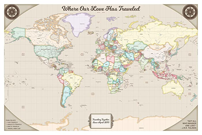Amazon Smooth Toast Designed Personalized World Travel Map – Personalized World Traveler Map