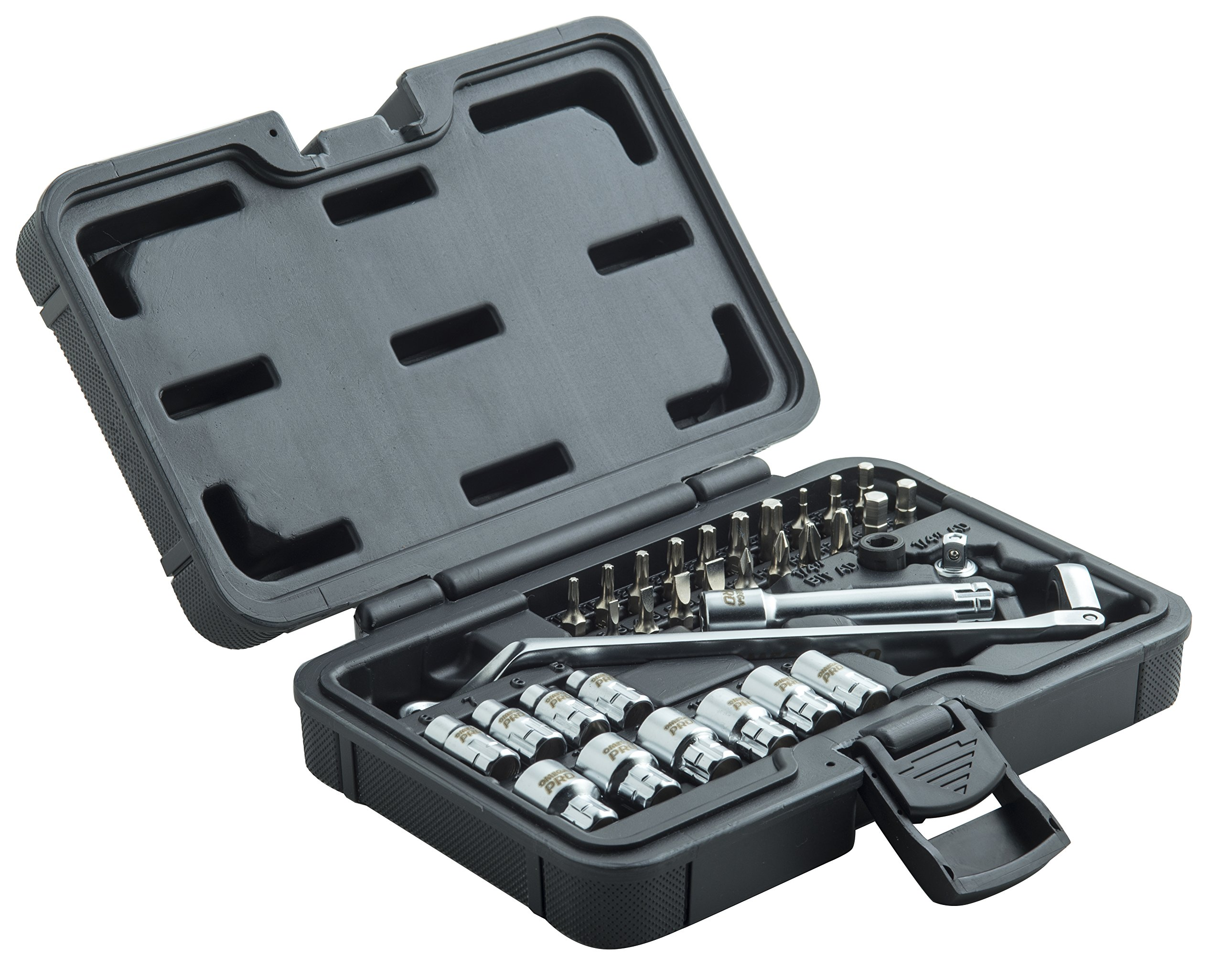 Omega Pro Go-Through Socket Set and Wrench - 1/2 Inch Drive with Flexible Ratchet - 34 Pieces in Molded Case for Easy Organization