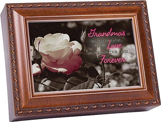 Cottage Garden Grandma Woodgrain Music Box//Jewelry Box Plays How Great Thou Art