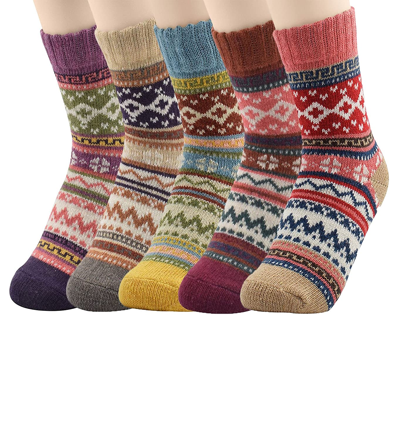 American Trends Womens Winter Wool Socks Thermal Thick Warm Cute Knitting Vintage Style Casual Soft Cozy Crew Sock