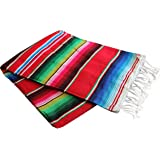 "Del Mex X-large Mexican Serape Blanket Red (82"" by 62"")"