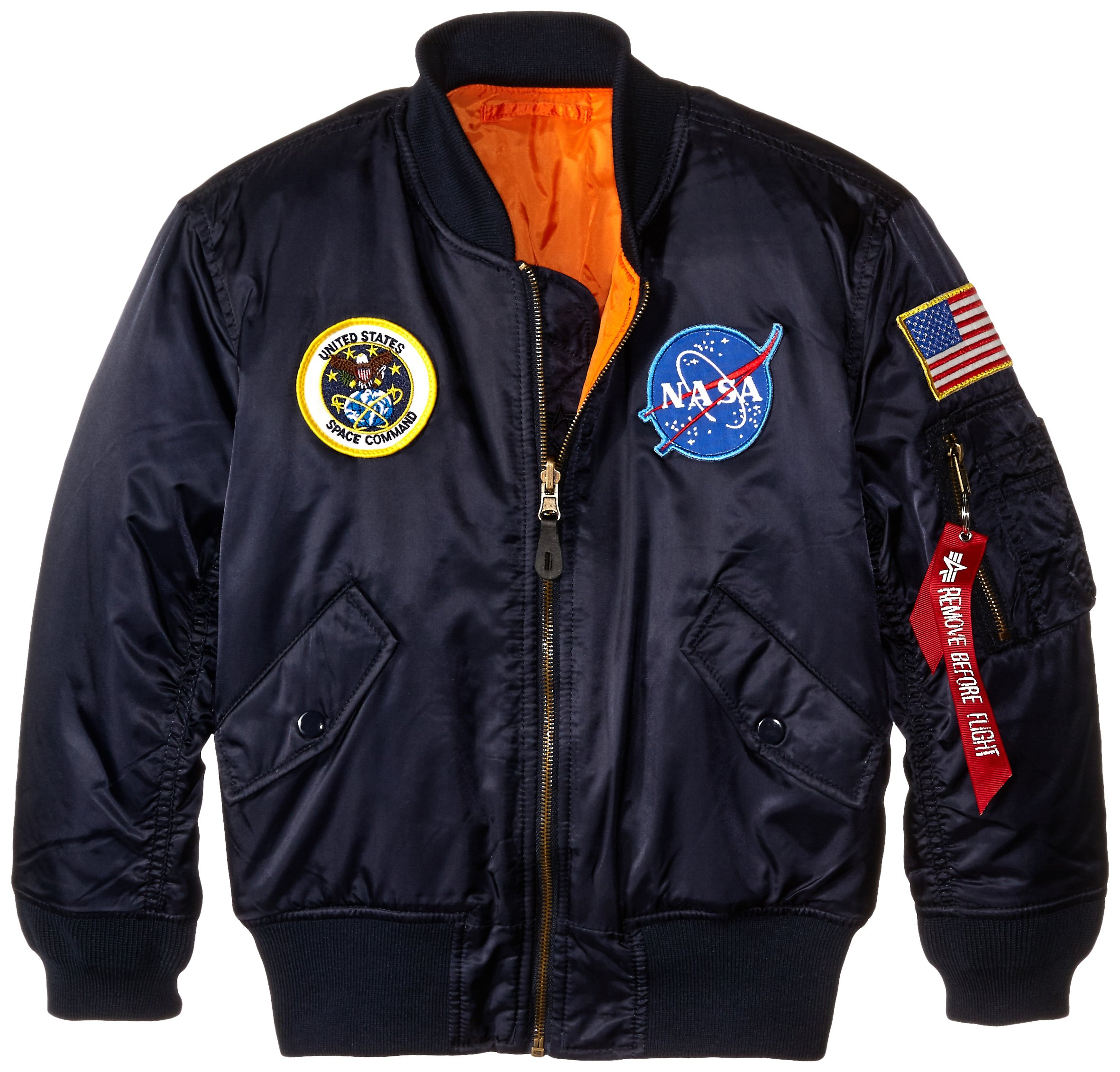 Alpha Industries Boys' Big NASA MA-1 Flight Jacket Y, Replica Blue, YS 8