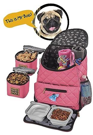 Dog Travel Bag - Deluxe Quilted Weekender Backpack