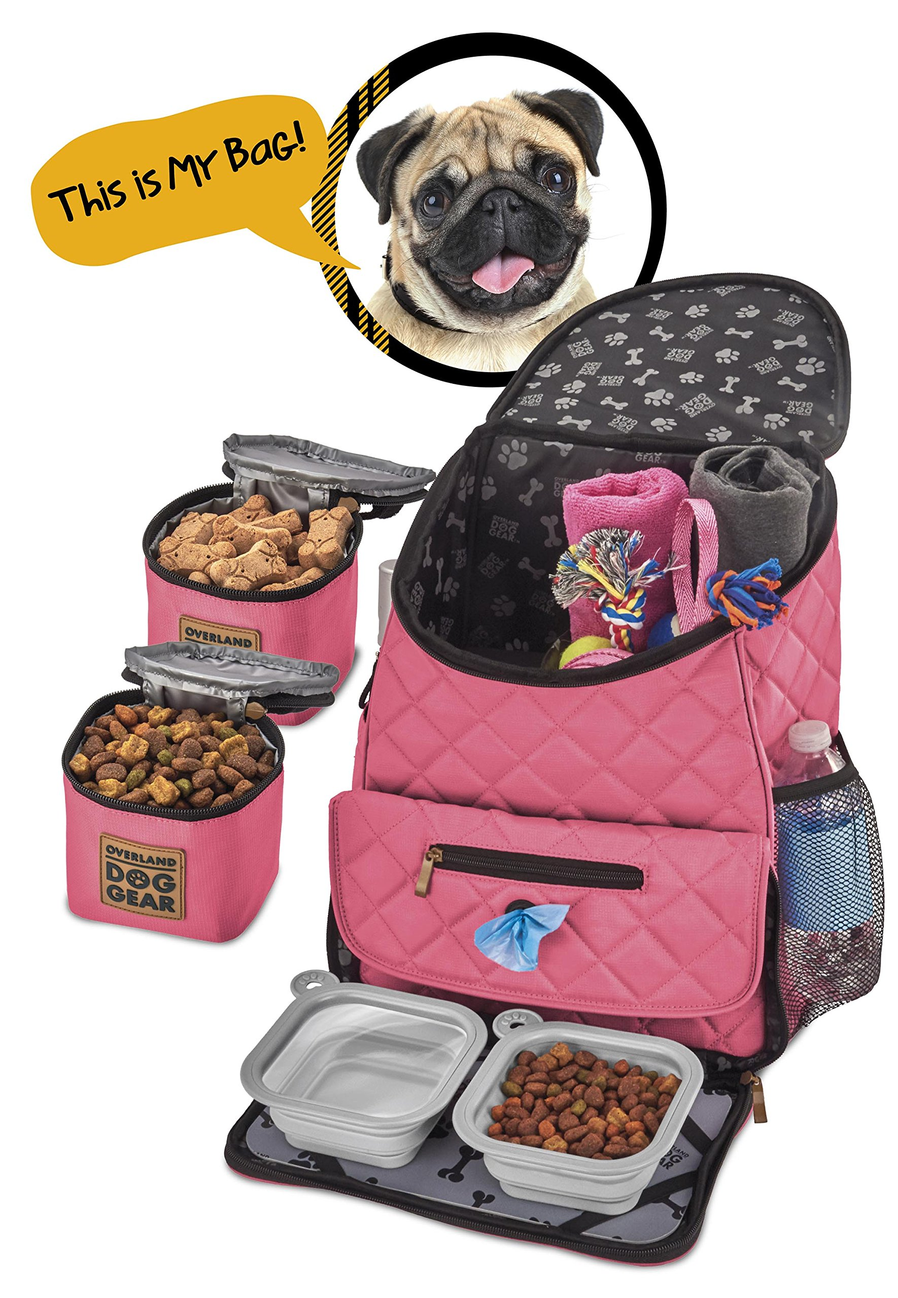 Dog Travel Bag - Deluxe Quilted Weekender Backpack - Includes Lined Food Carriers and Collapsible Bowls (Pink)