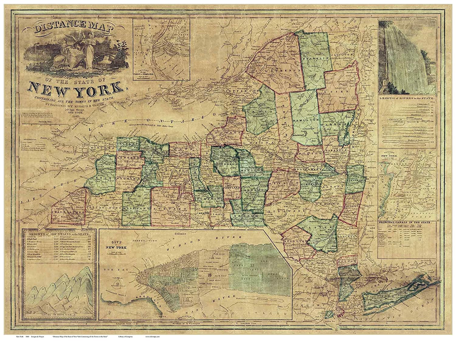 Amazon Com New York State 1849 Map Ensigns Thayer