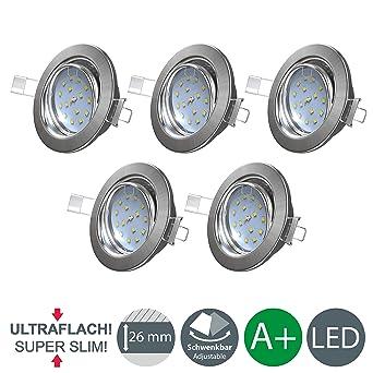 B.K.Licht Ultra Flach LED Einbaustrahler - warmweiß - inkl. 5 x 5W ...