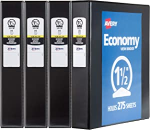 "Avery 1.5"" Economy View 3 Ring Binder, Round Ring, Holds 8.5"" x 11"" Paper, 4 Black Binders (19204)"