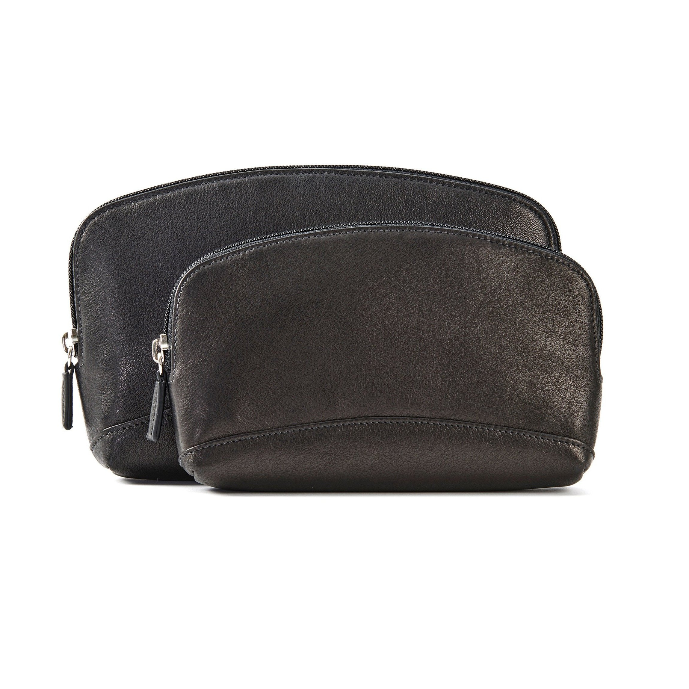 Cosmetic Bag Set - Full Grain Leather - Black Onyx (black) by Leatherology