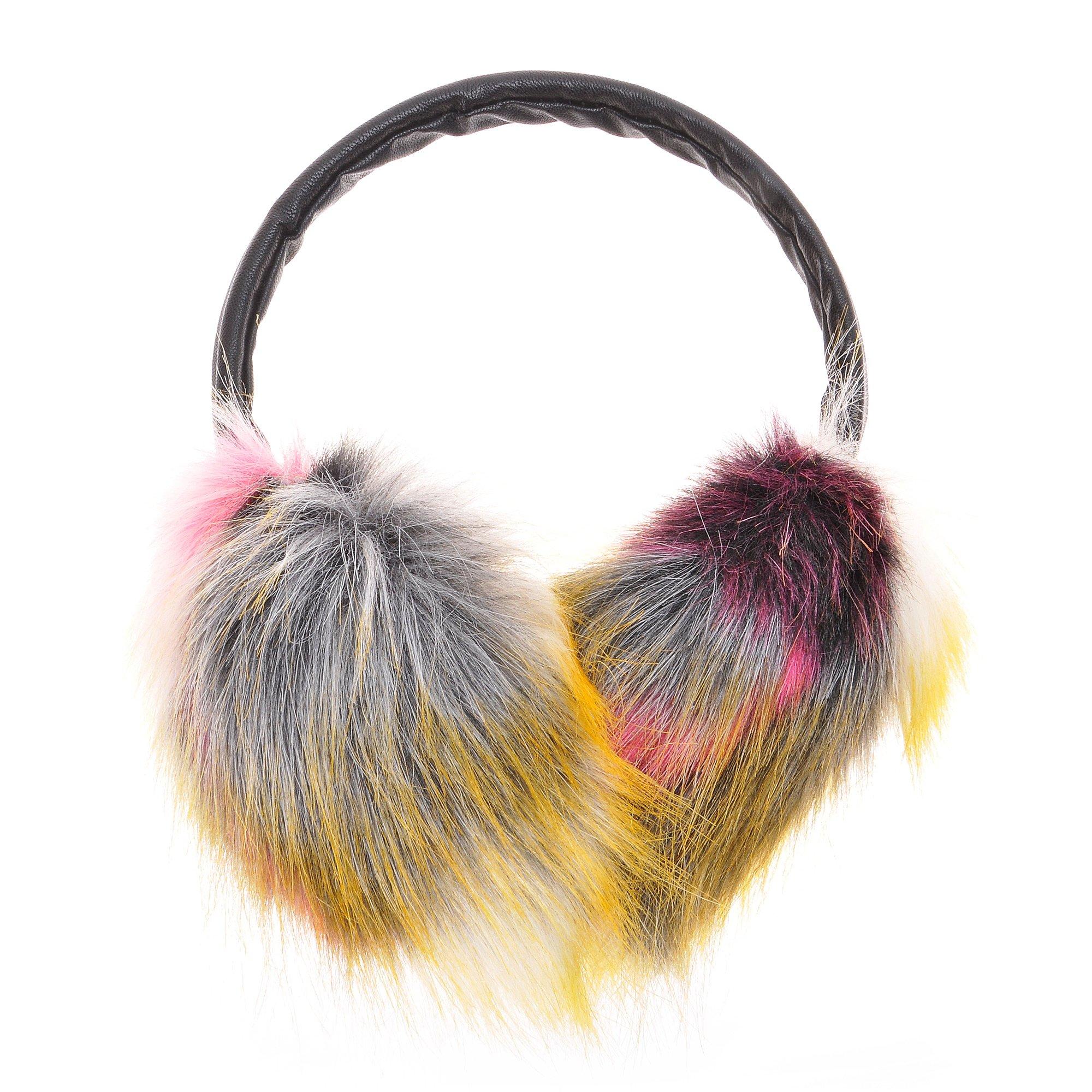 ZLYC Womens Girls Winter Fashion Dye Neon Color Faux Fur EarMuffs Adjustable Ear Warmers, Pink