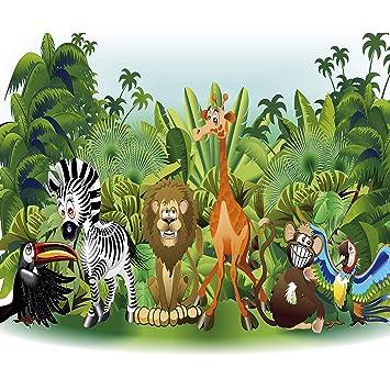Decomonkey Fototapete Kinderzimmer Tiere Zoo Dschungel 250x175 Cm Xl