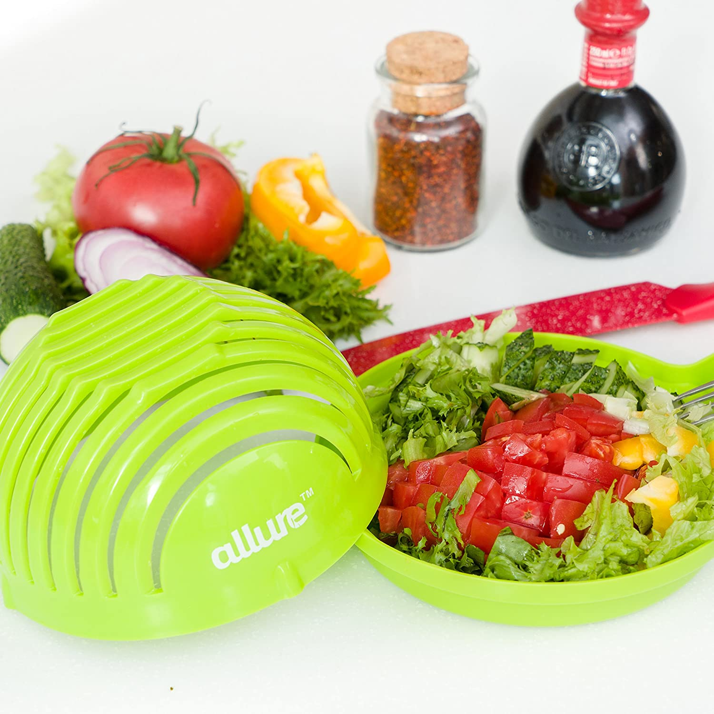 Salad Cutter Bowl Slicer w/Cutting Board  FASTEST FAMILY SIZE Vegetable, Fruit, Onion Chopper Allure