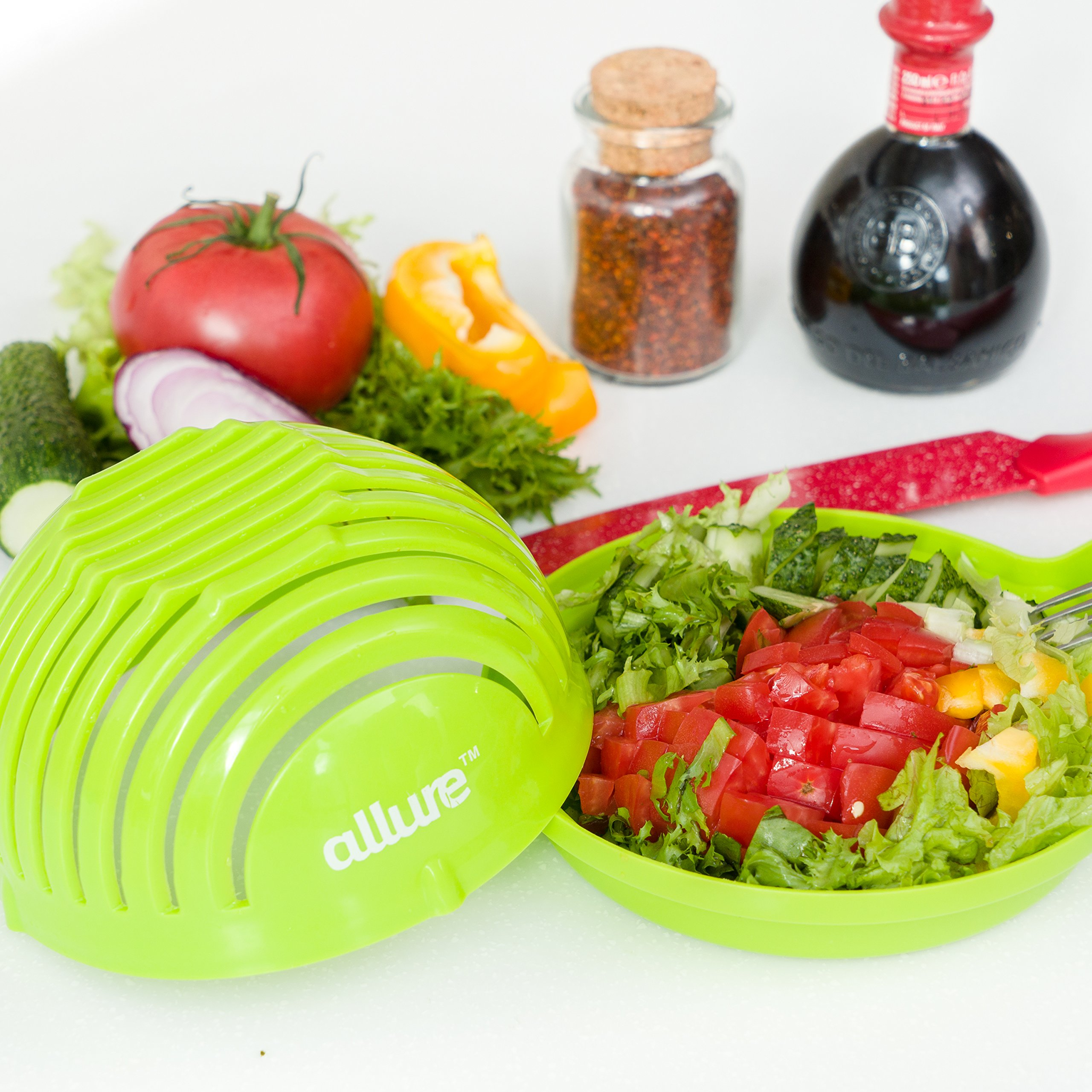 Salad Cutter Bowl Slicer w/Cutting Board| FASTEST FAMILY SIZE Vegetable, Fruit, Onion Chopper