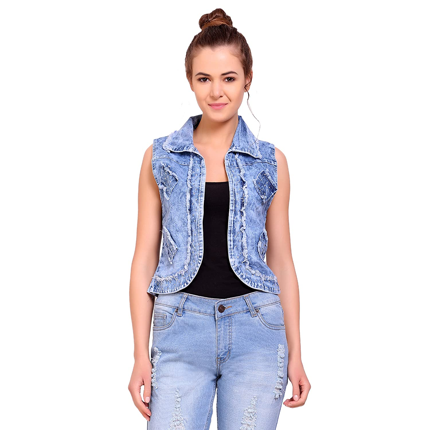 9be4f93df8 Sleeveless denim jackets go with just about anything and everything. They  look especially great with all kinds of trousers – jeans