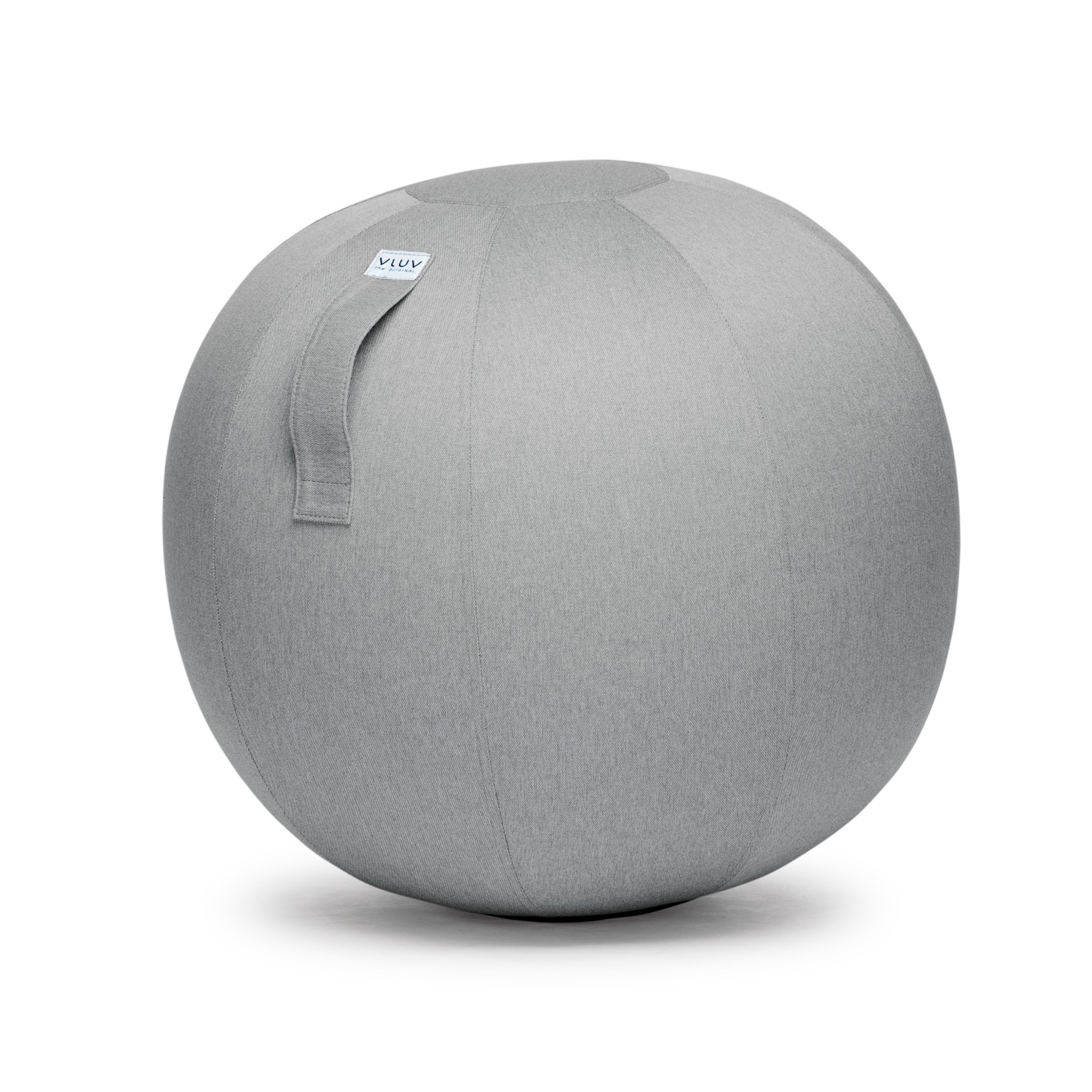 VLUV LEIV 29.5'' Premium Quality Self-Standing Sitting Ball with Handle - Home or Office Chair and Exercise Ball for Yoga, Stretching, or Gym Stone Colored Canvas Fabric (Silver Colored, 25.6'')