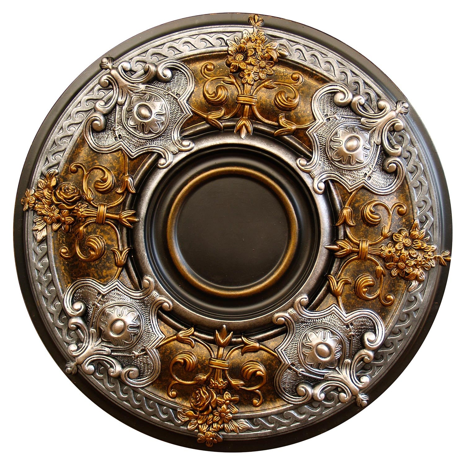 Fine Art Deco ''Dark Platinum'' Hand Painted Ceiling Medallion 28-1/8 In. Finished in Bronze and Silver