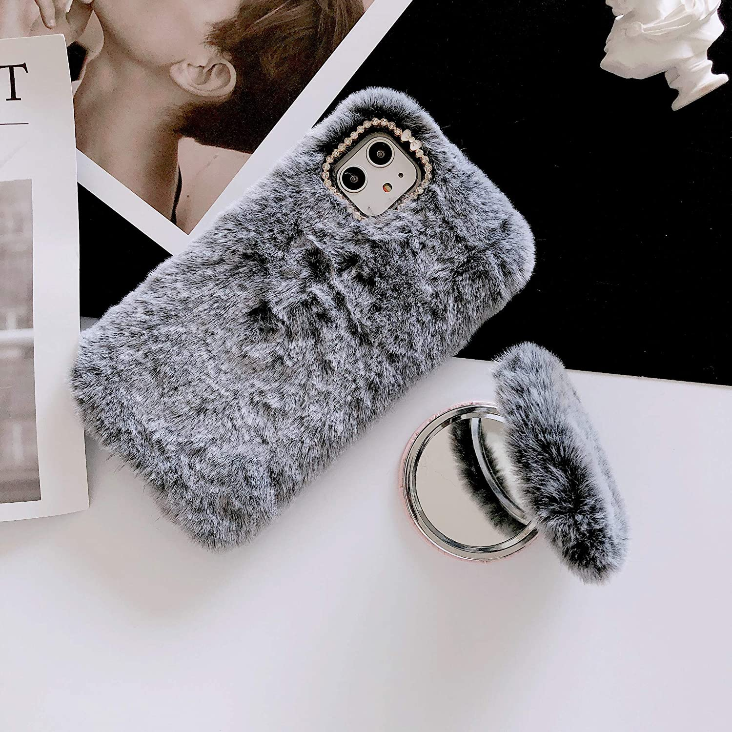 Amazon Com Aweevnye Case Compatible With Iphone 11 Pro Max Cute Girly Furry Case With Detachable Mirror Bling Crystal Soft Fluffy Shockproof Protective Phone Cover 6 5 Inch Release In 2019 Deep Gray