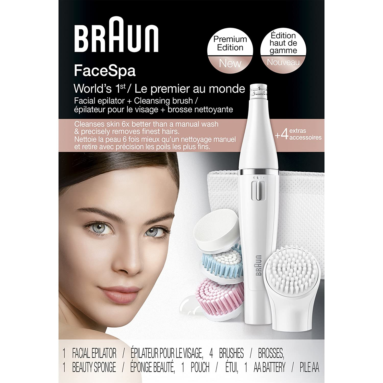 Braun Face 851 Women's Miniature Epilator, Electric Hair Removal, with 4 Facial Cleansing Brushes and Beauty Pouch SE851