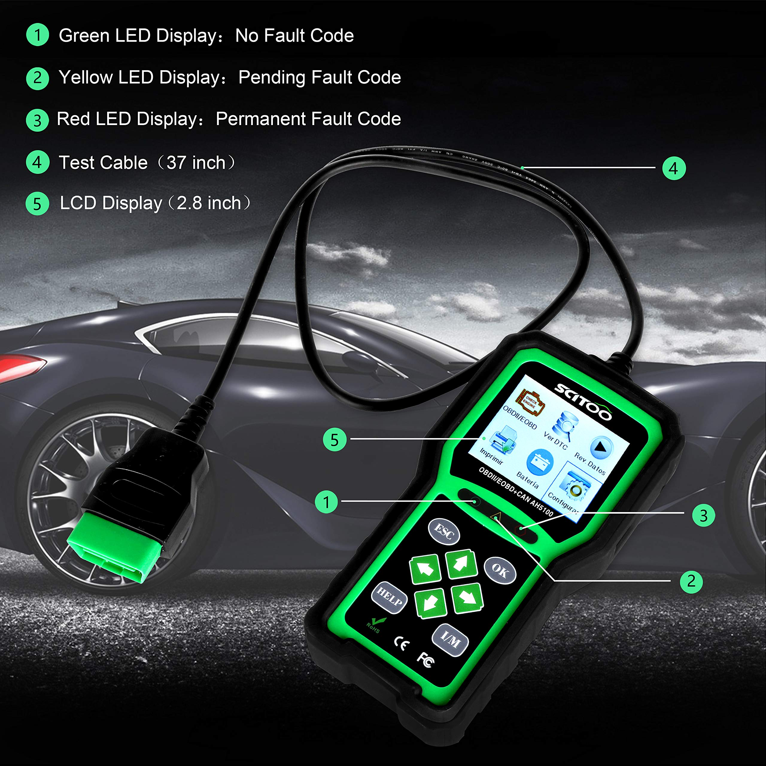 OBD2 Scanner Engine Check Light Fault Code Reader Automotive CAN Diagnostic Scan Tool AH5100 by SCITOO (Image #3)