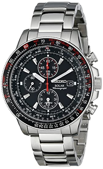 Stainless Steel Solar Flight Quartz Alarm Chronograph Black Dial: Amazon.es: Relojes