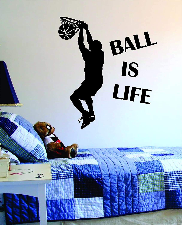 amazon com ball is life version 2 basketball court wall decal amazon com ball is life version 2 basketball court wall decal vinyl art sticker sport boy girl teen baby nba home kitchen