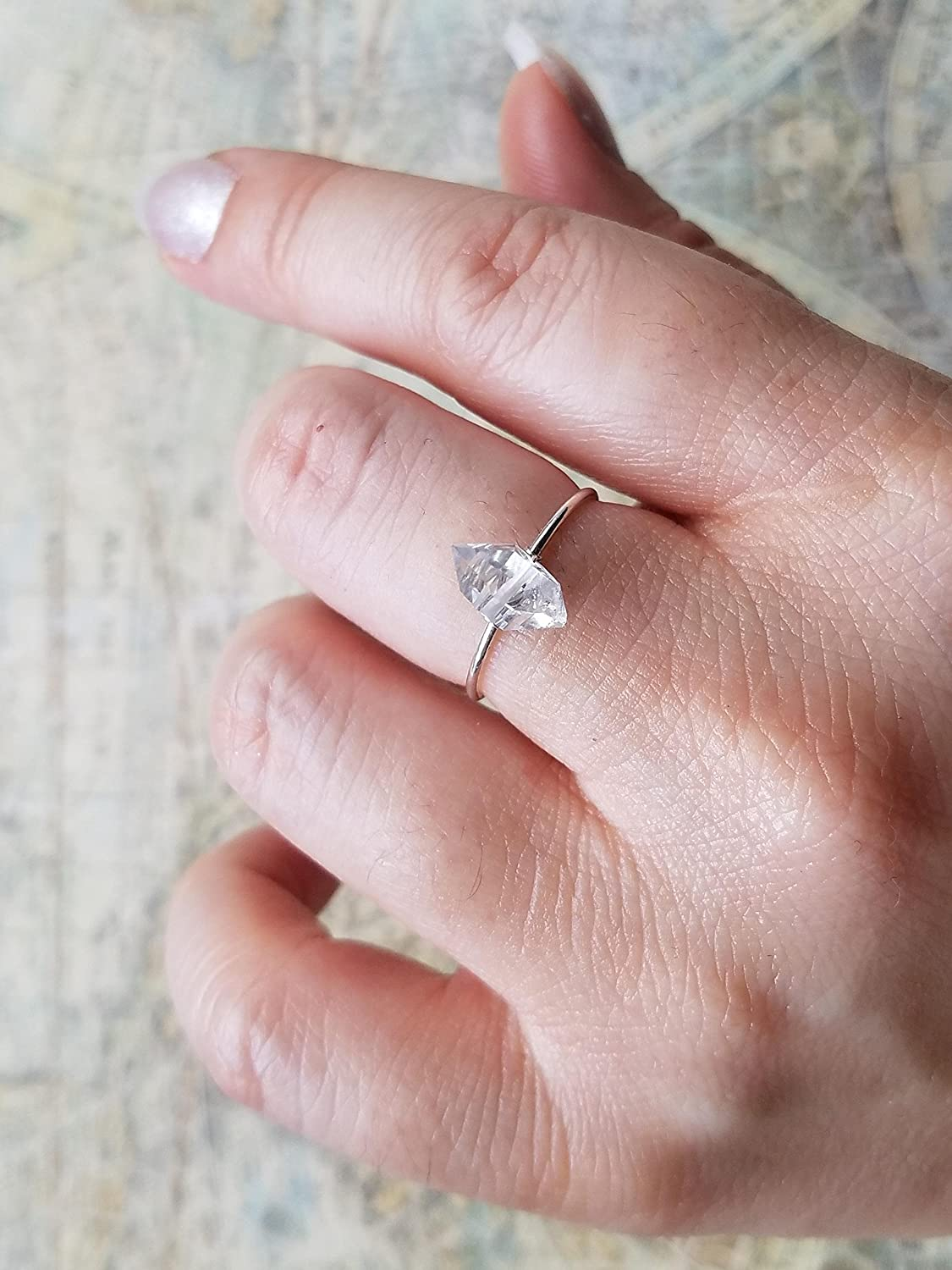 Amazon.com: Herkimer Diamond Ring, Dainty Ring, Dainty Silver Ring ...