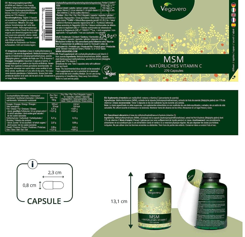 MSM 99,9% PURO + Vitamina C Natural Vegavero® | 2100 mg | 270 Cápsulas | Articulaciones y Dolor Muscular + Cabello y Piel | Sin Gelatina | Sin ...