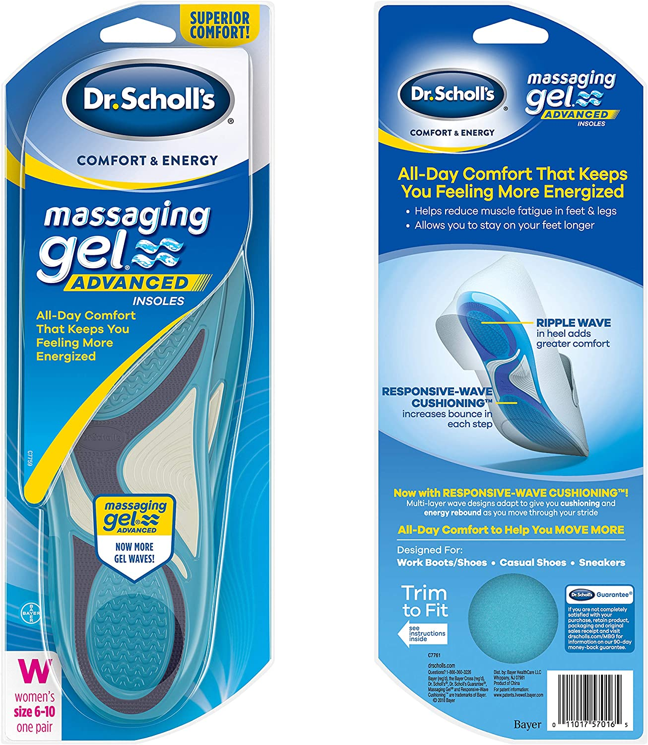 Scholl's Comfort and Energy Massaging Gel Insoles for Men Dr 1 Pair Size