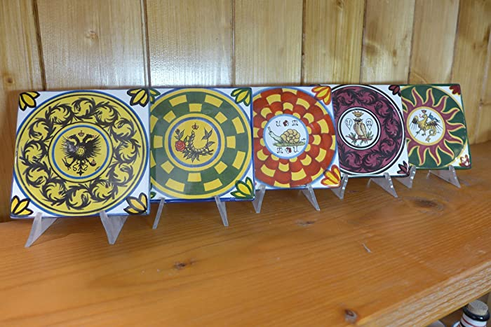 Mattonella 10x10 cm decorata con le contrade del palio di siena