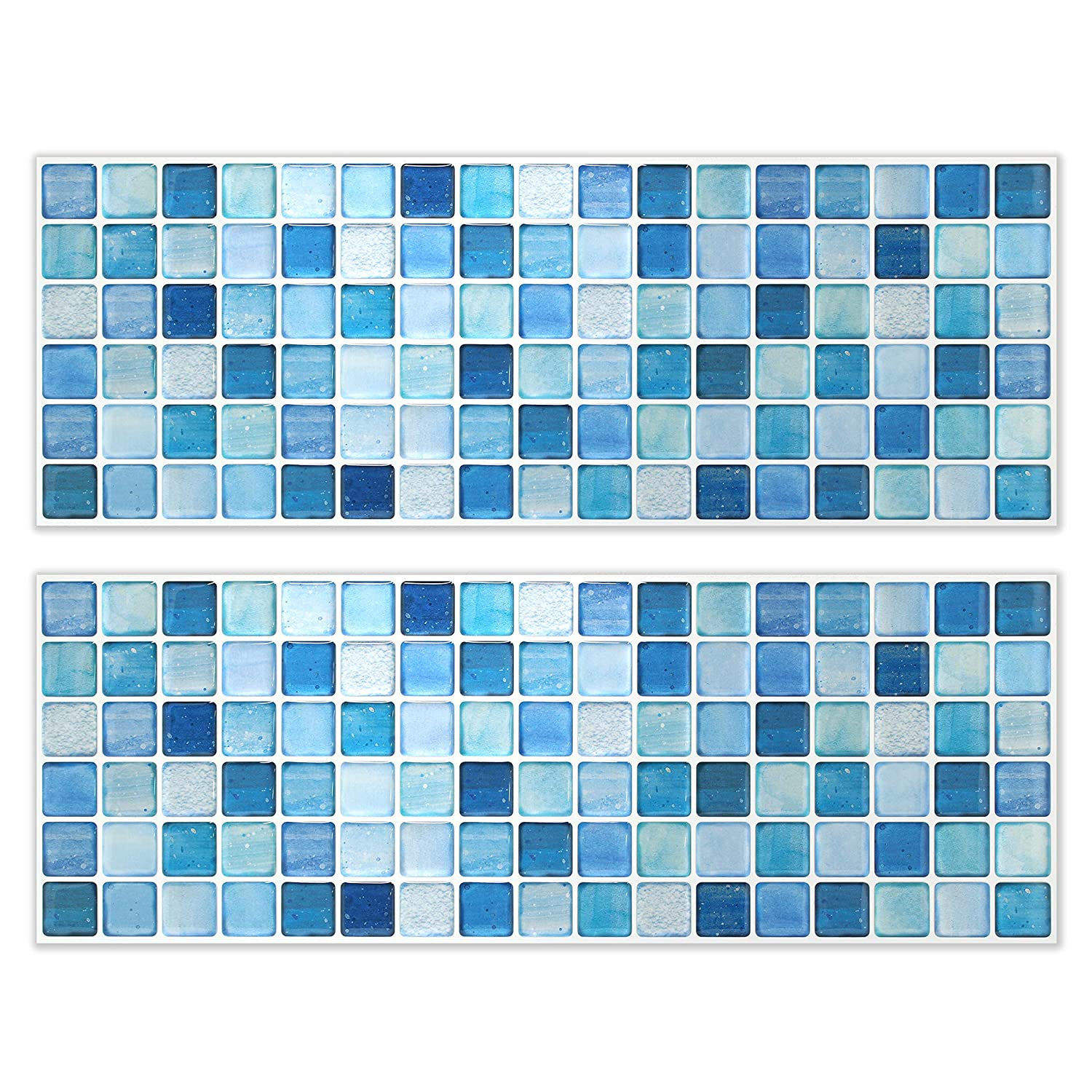 BEAUSTILE Decorative Tile Stickers Peel and Stick Backsplash Fire Retardant Tile Sheet (2pcs) (N.Blue)