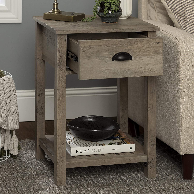 Amazon Com Walker Edison Country Single Drawer Side Table Grey Wash Furniture Decor