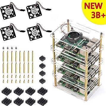 Clearain Ventilador de refrigeración con caja de 4 capas y disipador térmico para Raspberry Pi 3 Modelo B + Plus ...