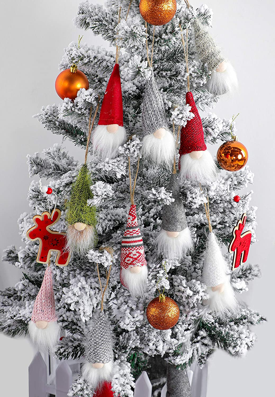 Christmas Tree Hanging Gnomes Ornaments Set of 10, Swedish Handmade Plush Gnomes Santa Elf Hanging Home Decorations Holiday Decor: Kitchen & Dining