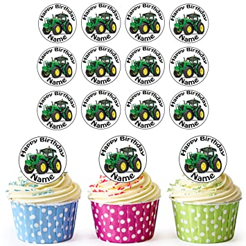 AKGifts Green Tractor 24 Personalised Edible Cupcake Toppers Birthday Cake Decorations