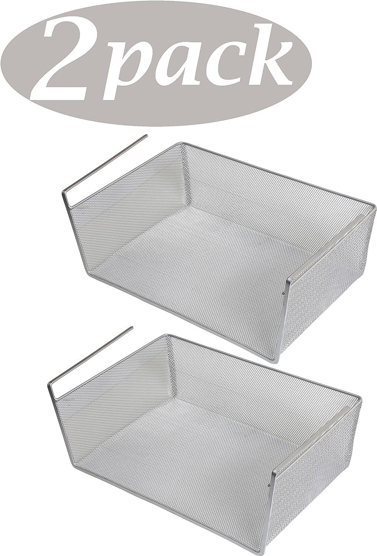 Under Shelf Basket 1, Medium 5.5x9.5x10 #1614 YBM Home Storage Bin Silver