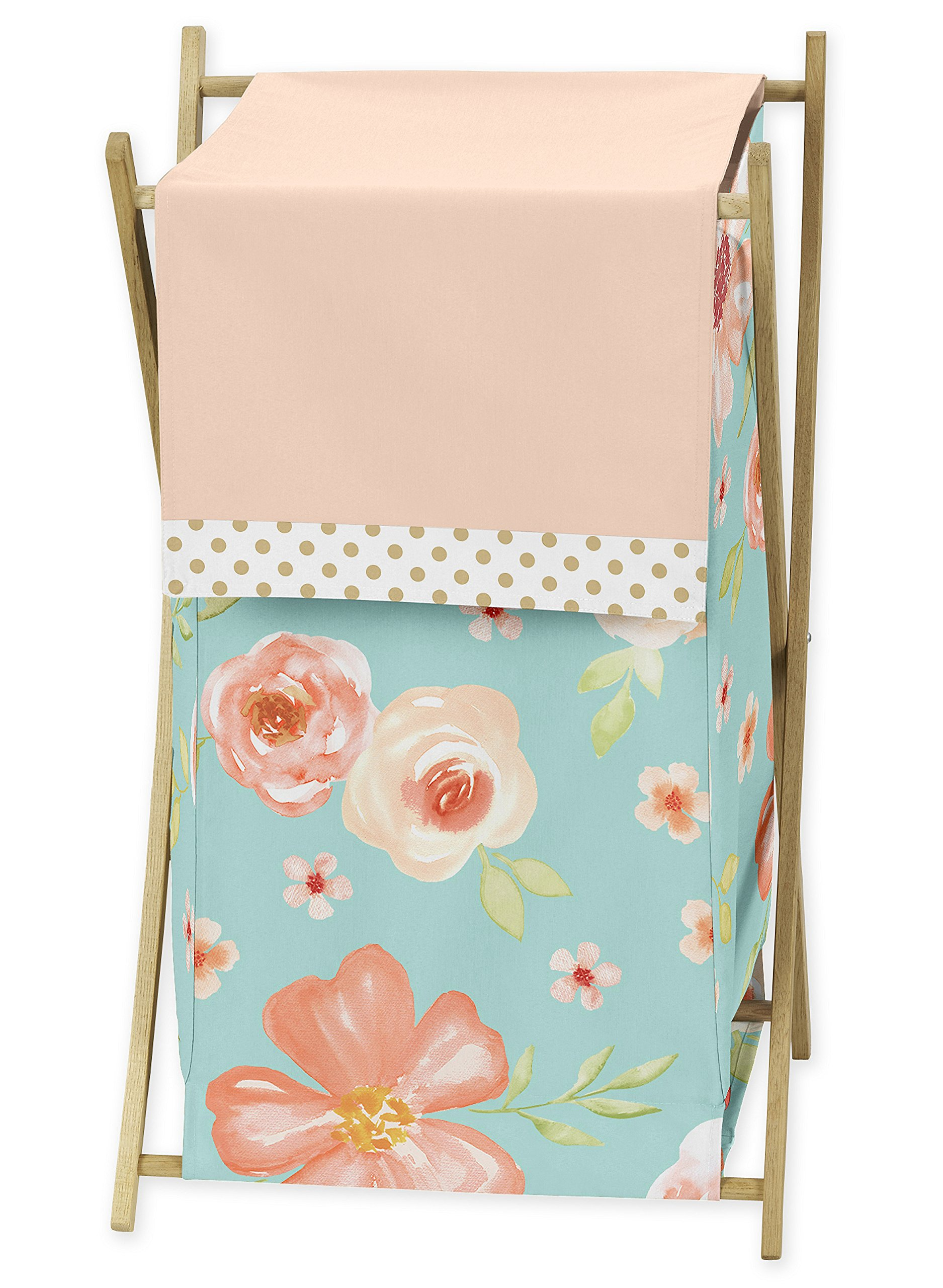 Sweet JoJo Designs Turquoise, Peach and Gold Baby Kid Clothes Laundry Hamper for Watercolor Floral Collection - Pink Rose Flower