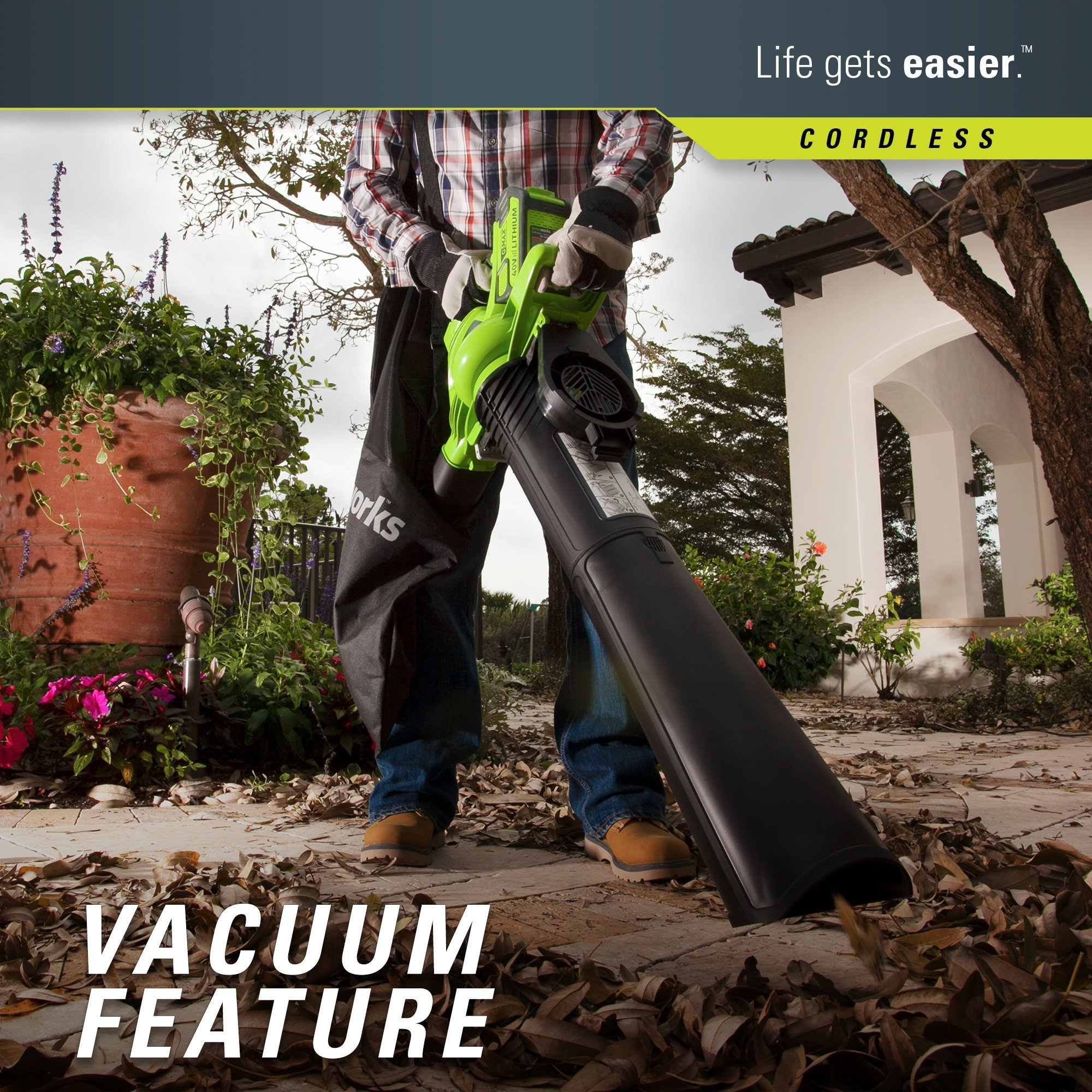 Greenworks 40V 185 MPH Variable Speed Cordless Blower Vacuum, 4.0 AH Battery Included 24322 by Greenworks (Image #3)