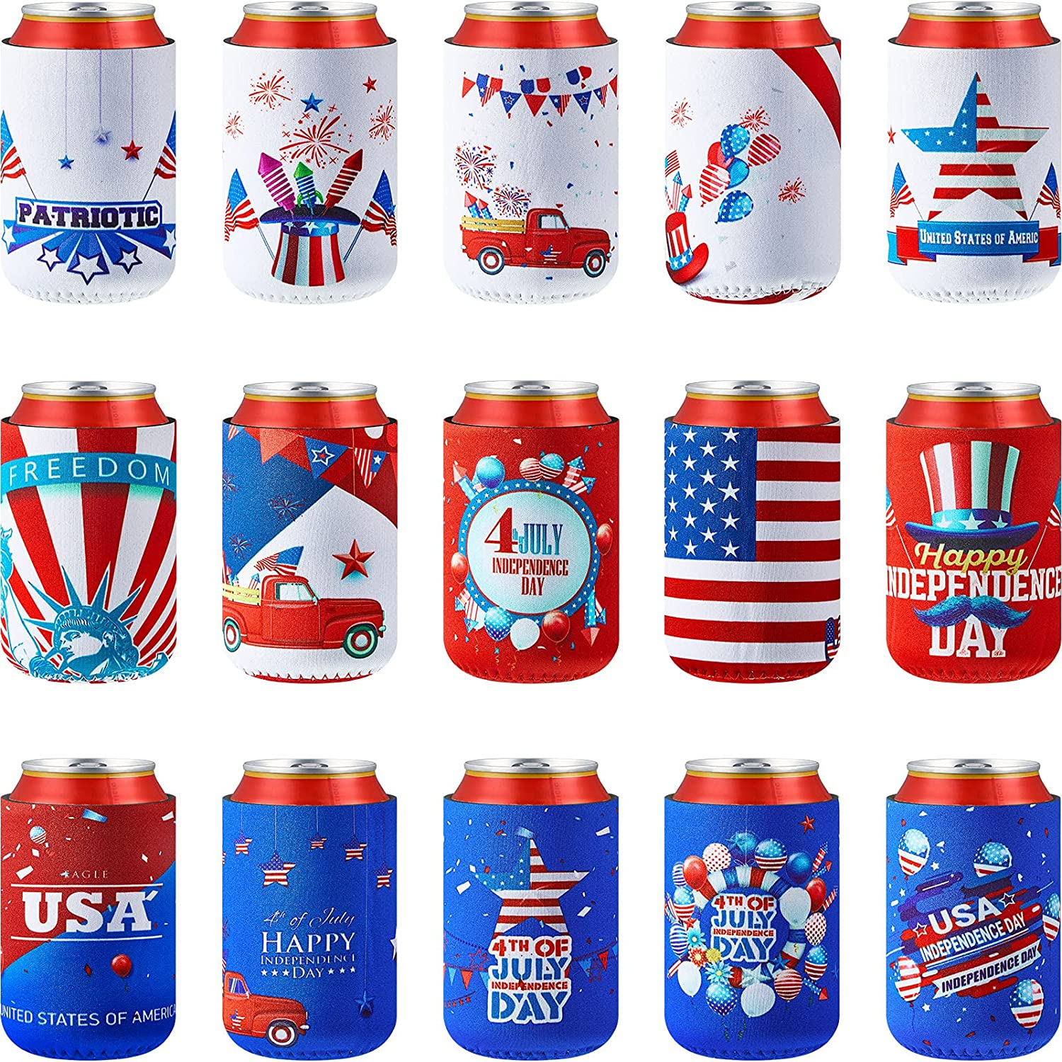 15 Pieces 4th of July of Beer Can Coolers Sleeves Patriotic American Flag Insulated Neoprene Can Covers Collapsible Drink Cooler Sleeves for 12-Ounce Canned Beverages Bottle on Independence Day