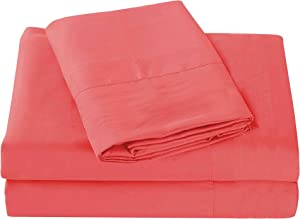 Sheets & Beyond Super Soft 1800 Series Cotton Touch Microfiber 4 Piece Sheet Set - by (Coral, Queen Size)