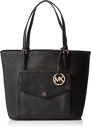 Michael Kors Jet Set Large Saffiano Leather Snap Pocket Tote Black Bag