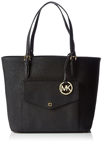 21781b98630b Amazon.com: Michael Kors Jet Set Large Saffiano Leather Snap Pocket Tote  Black Bag: Shoes