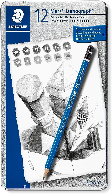 Staedtler Mars Lumograph Art Drawing Pencils, 12 Pack Graphite Pencils in Metal Case, Break-Resistant Bonded Lead, 100 G12 : Wood Lead Pencils : Office Products