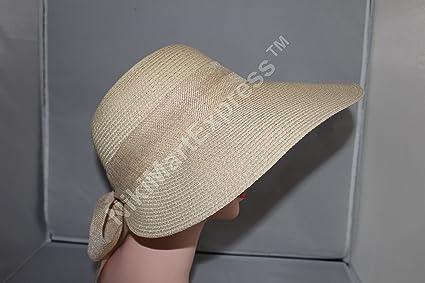 7bea05c2472 New Women Ladies Summer Wide Brim Roll Up Foldable Sun Beach Straw Visor  Hat Cap (