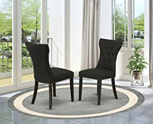 East West Furniture Gallatin Parson Chair, Standard Height, Black Linen Fabric