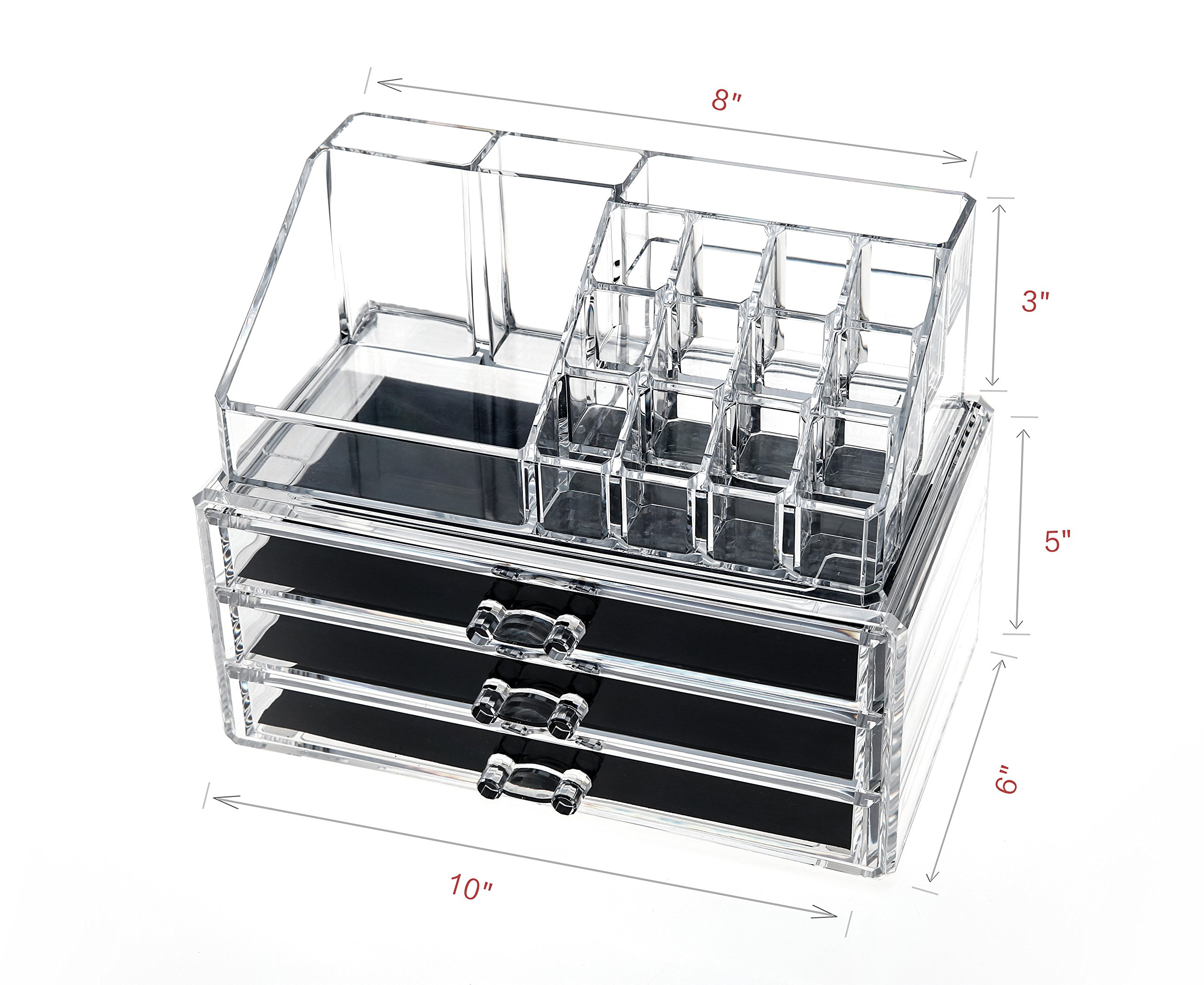 Clear Acrylic Cosmetic Storage Organizer, Boxes Makeup and Jewelry Organizer Large 3 Drawers with Removable Black Mesh Padding