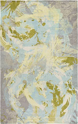 Viola Sky Blue and Lime Modern Area Rug 4 x 6
