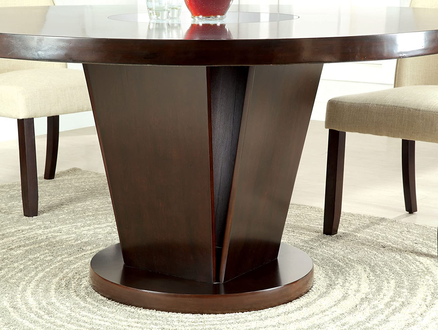 Contemporary Round Dining Table Amazoncom Furniture Of America Telstars Round Dining Table With